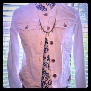 NWT, INC International white denim, cropped jacket